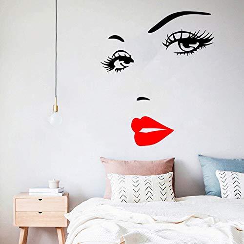 Pestañas sexis y labios rojos, pegatina de pared para sala de estar, dormitorio, decoración de fondo, calcomanías, papel tapiz, pegatinas talladas a mano