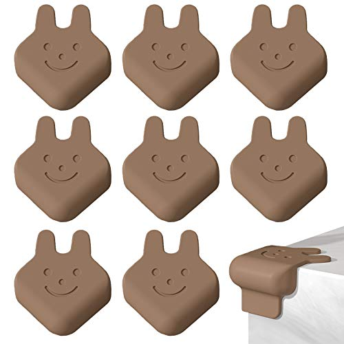 Elinala Protector Esquinas, Protector Mesa Bebe, 8 Piezas de Silicona Autoadhesiva de Dibujos Animados de Conejo Infantil Cubierta Protectora para Esquinas de Mesa, Esquinas de Muebles (Marrón)