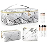 3PCS Makeup Bags for Women with 10 Pcs Brushes, Portable Travel Cosmetic Bag for Accessories, Waterproof Marble Large Organizer Makeup Case, Multifunction Artist Storage Case with Adjustable Dividers