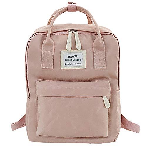 squarex modischer Rucksack für Damen, für Studenten geeignet, Leinwand-Umhängetasche, Reisetasche, fürs Wandern, Sport, Schule, mit Laptop-Tasche rosa rose AS SHOW