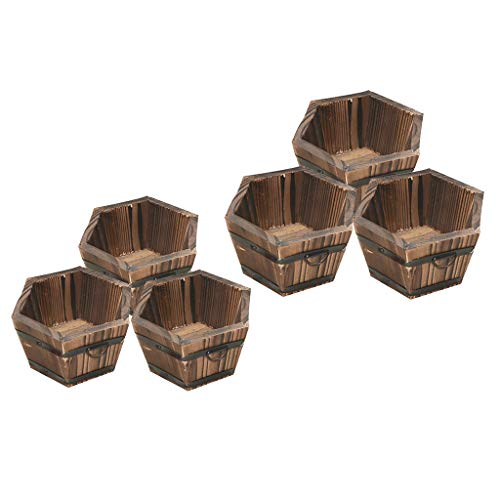 Serenable 6X Wooden Bucket Plants Flower Pots Hexagonal Top Outdoor Garden Patio
