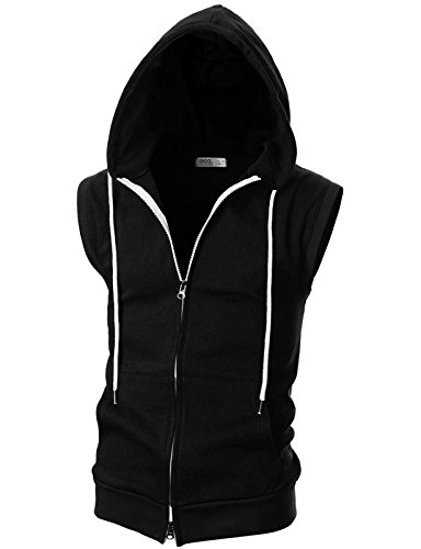 Ohoo Mens Slim Fit Sleeveless Lightweight Zip-up Hooded Vest With Double Slide Zipper/DCF011-BLACK-L