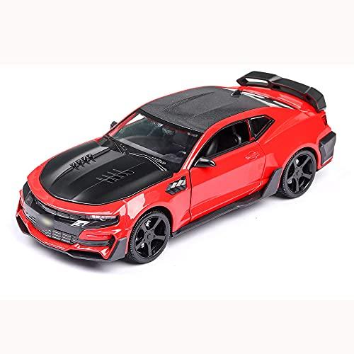 Zpzzy Modelo de coche de juguete de simulación para niños 1:24 puede abrir la puerta, varillaje del volante, aleación de cuerpo, plástico para la parte inferior del coche, juguete de goma para ruedas,