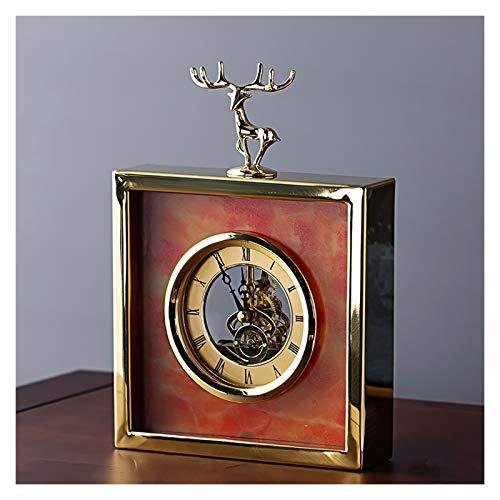 guoqunshop Reloj Vintage Reloj de Escritorio Decorativo de Doble Cara Sala de Estar Elegante Escritorio Mantel Reloj Metal Mesa Reloj de Mesa está Equipado con baterías 9 Pulgadas Reloj (Color : C)