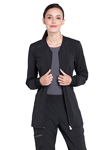 Cherokee Infinity Women Warm Up Scrubs Jacket Zip Front Plus Size CK370A, 2XL, Black