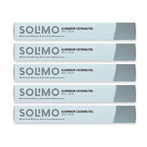 Amazon Brand - Solimo Aluminium Catering Foil - 29 cm x 30 m - 5 rolls