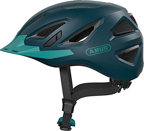 ABUS Urban-I 3.0 Stadthelm - Fahrradhelm mit Rücklicht für den Stadtverkehr - für Damen und Herren - 86885 - Blaugrün, Größe XL