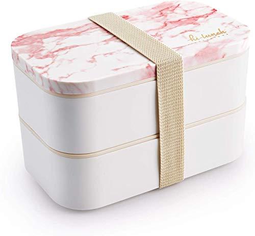 Thousanday Fiambrera Lunch Box - Recipiente Hermético Tipo Bento con 2 Compartimentos y Cubiertos - Microondas y Lavavajillas – 1600ml,Polipropileno, Mármol Rosa