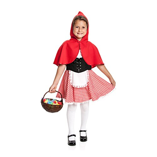 Kostümplanet® Rotkäppchen Kostüm Mädchen Kinder komplett Set Verkleidung roter Cape Schürze Kinderkostüm Märchen Outfit Faschingskostüm Größe 104