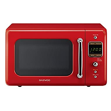 Daewoo KOR-7LRER Retro Countertop Microwave Oven 0.7 Cu. Ft, 700W | Pure Red