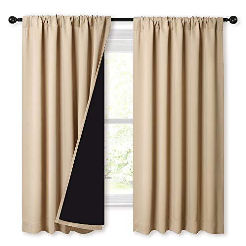 NICETOWN Bedroom Full Blackout Curtain Panels, Super Thick Insulated Window Covers, Rod Pocket Draperies with Black Liner for Short Window (Biscotti Beige, Set of 2 PCs, 52 by 63-inch)