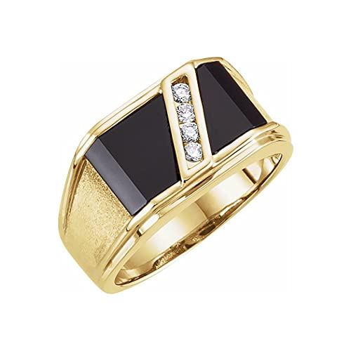 Anillo de oro amarillo de 14 quilates para hombre con ónix simulado y diamante de 0,13 quilates, tamaño V 1/2, joyería regalos para hombres