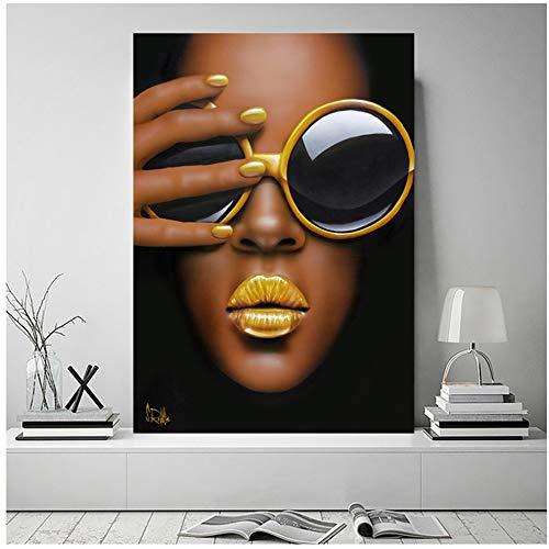 Tamaño grande con gafas, póster de labios amarillos, imágenes artísticas de pared para la sala de estar, retratos, carteles, pintura en lienzo, decoración del hogar, 70x100cm (28x40in)