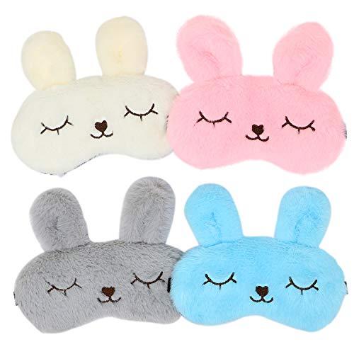 JDYW 4pcs Antifaz para Dormir Máscara de Conejo Animal Lindo para Dormir antifaces Máscara de Ojos para Dormir Niña Niño