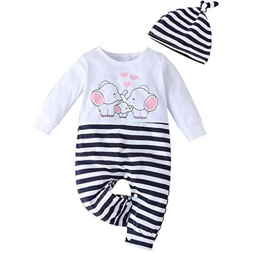 Robemon Pyjama für Babys, Jungen, Mädchen, Kleidung, Elefant, Familie, gestreift, Body + Hut Set Gr. 100 cm(12- 18 Monate), weiß