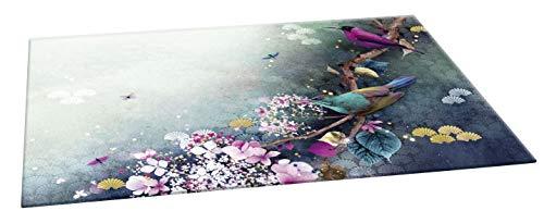 Clairefontaine 115595C - Un Sous-main Bureau en Carton motifs Floral/Oiseaux 60x40 cm - Finition brillante - Collection Sakura dream