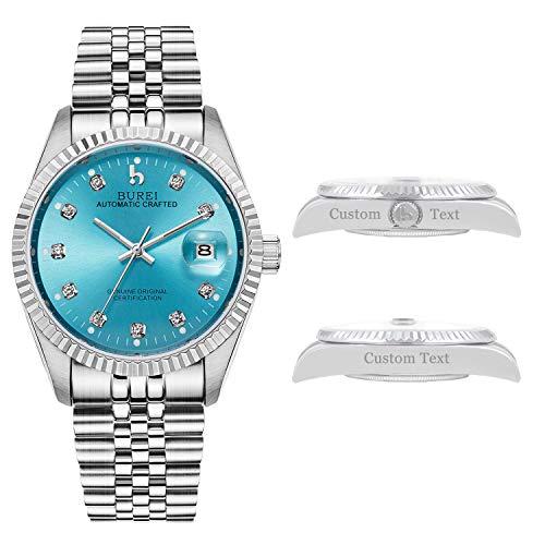 BUREI Men's Custom Personalized Automatic Watch Calendar Date Display with...