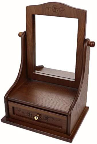 Joyas cajas de pecho joyas cajas de madera portátil terciopelo joyería cofre con espejo joyería organizador para pulseras Pendientes Anillos Joyas Cajas de exhibición para mujeres