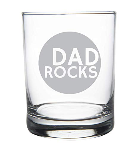 DAD ROCKS 14 oz. whiskey rocks glass, permanently etched