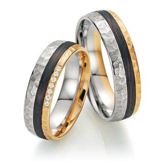 Trauringe Gold mit Carbon Fischer 22/23-01210/060