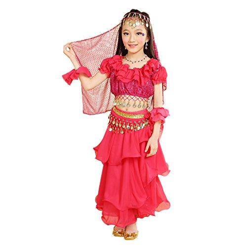 BOZEVON Niños India Danza del Vientre, Ropa del Funcionamiento del niño, Ropa de Cosplay, Tops + Falda + Cadena de Cintura + 2 Banda de muñeca + Velo (Rosa Rojo,EU XS = Tag S)