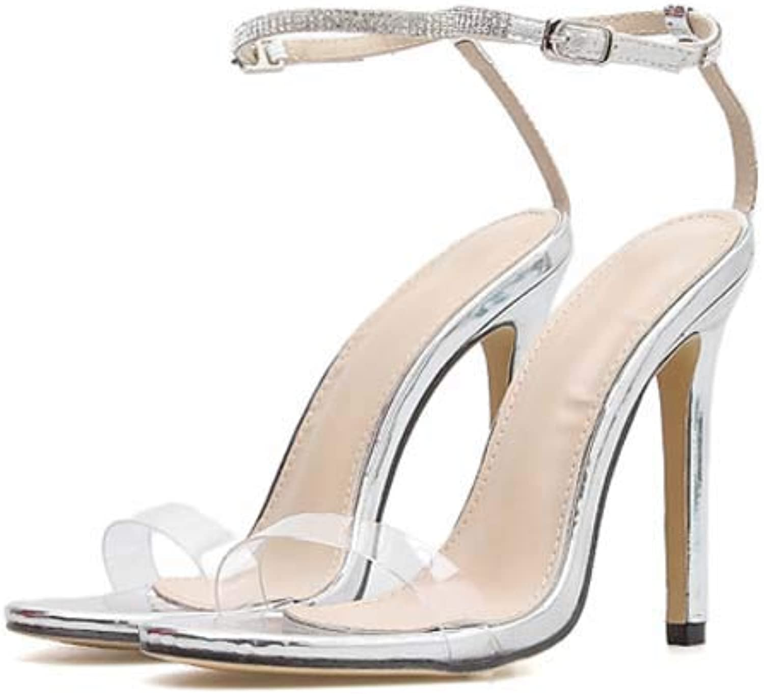 Women Diamante Sandals,Ladies high Heels Rhinestone Open Toe shoes,Wedding Party Ankle Strap Stiletto Heels Pumps