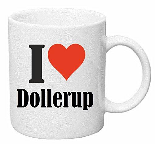 Reifen-Markt Kaffeetasse I Love Dollerup Keramik Höhe 9,5cm ? 8cm in Weiß