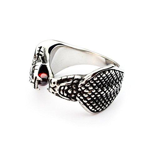Miss - E - Jewels Anillo de serpiente de acero inoxidable de plata para hombre, motero, punk gótico, veneno mexicano, tamaño: Y, 12, 28, 68