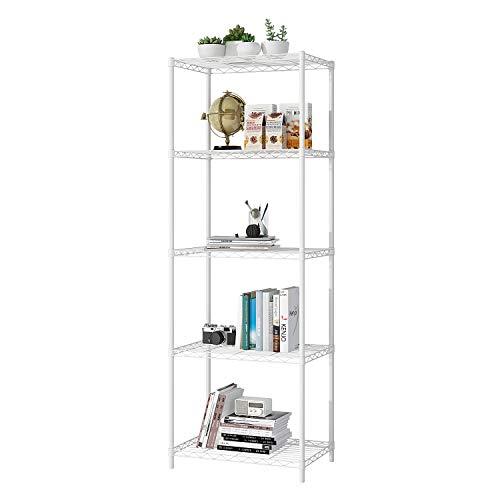 JEROAL 5-Tier Wire Shelving, Metal Wire Shelf Storage Rack, Durable Organizer Unit Perfect for Kitchen Garage Pantry Organization in White, 21