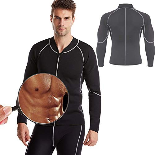 OLDSAN Gym Top Clothes Shapewear Long Sleeve Fitness Slimming Men Sauna NeopreneJacket,for Core Muscle Training,Fat burning 6