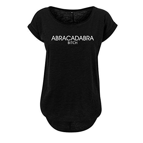 Sommer Rundhals Top Abracadabra Bitch Damen Oversize Shirt mit Spruch Oversized Longshirt (388-B36-Schwarz-M)