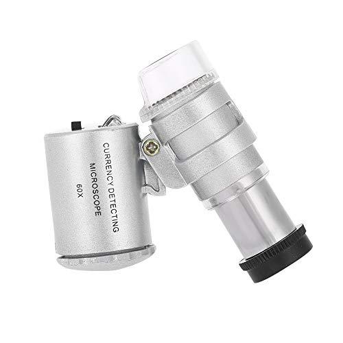 Oumij Mini Microscopio 60X Lupa de Bolsillo Plegable Lupa de Joyería Lupa con Luz LED Lupa de Longitud Focal Ajustable