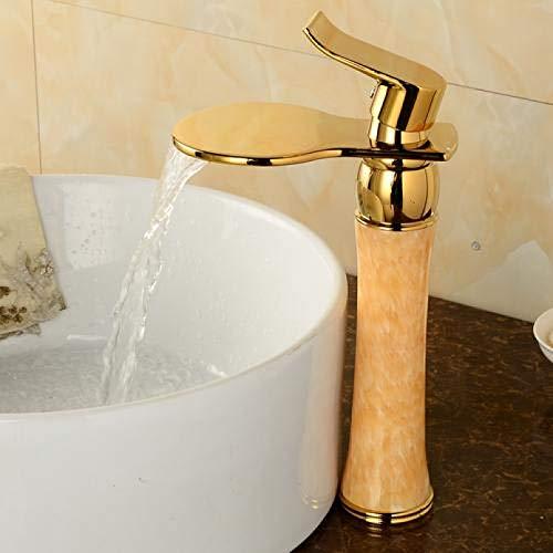 Baño Grifos altos Cascada de oro Fregadero de baño Mezclador de agua Grifo de lavabo de Jade dorado Montado en cubierta caliente y fría