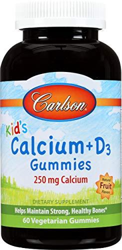 Carlson Labs Kid's Calcium + D3 Gummies, Natural Fruit, 60-Count