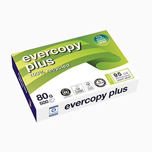 Clairefontaine 50048SC Druckerpapier Evercopy Plus blickdicht, Premium Qualität, Recycling Papier, DIN A4, 21 x 29,7cm, 80g/mq, 1 Ries mit 500 Blatt, Weiß