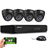 SANSCO True 1080p CCTV Camera <span class='highlight'>Security</span> System, 4pcs 2MP Full HD Metal Dome Cameras, 4CH 5MP DVR (Indoor & Outdoor, Email Alerts, Motion Detection, APP Viewing, Improved Day/Night Vision, Vandal-Proof Housing, HDD Not Included)