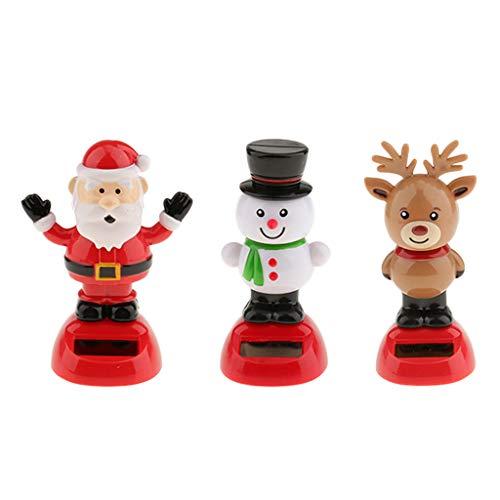 Blesiya 3Pcs Solar Powered Snowman Reindeer Santa Claus Dancing Nodding Bobble Head Bobhblehead Bobling Toys Home Car Tabletop Xmas Ornament