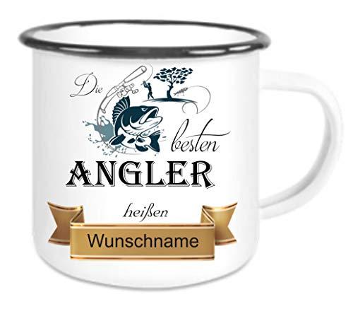 Crealuxe Emailletasse m. Wunschname Die besten Angler heißen. Wunschname - Kaffeetasse mit Motiv, Bedruckte Tasse mit Sprüchen oder Bildern