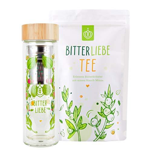 BitterLiebe Juego de té con 1 botella de té con colador para llevar (450 ml) y 1 té de hierbas en un paquete económico I Conocido de la cueva de los leones I con sustancias amargas