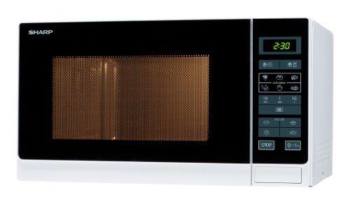 Sharp R342WW Solo-Mikrowelle / 25 L / 900 W / LED-Display / 8 Automatikprogramme / Timer / Gewichtgesteuertes Auftauen / Kindersicherung / Energiesparmodus / Glasdrehteller (31,5 cm) / weiß
