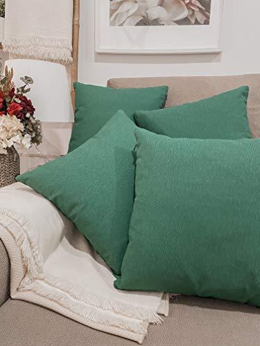 Pack 4 fundas de cojines para sofá EFECTO LINO suave, 16 COLORES fundas para almohada sin relleno, cojín decorativo grande para cama, salón. Almohadón elegante en varios tamaños.(Verde, 45x45cm)