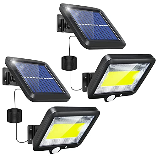 Solar Lights Outdoor Motion Sensor 2 Pack LED Solar Flood Lights Outdoor Security Solar Powered Lights Outside Waterproof with 3 Lighting Mode 16.4Ft Cable for Garden Patio Path Yard Garage Indoor