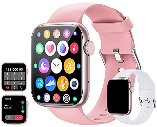 Smartwatch(Empfangen/Tätigen eines Anrufs), 1.72Zoll Touchscreen Armbanduhr, Fitness Tracker mit Pulsuhr Blutdruckmessung, Sportuhr mit Schrittzähler Schlafmonitor für Damen Herren Android iOS (Rosa)