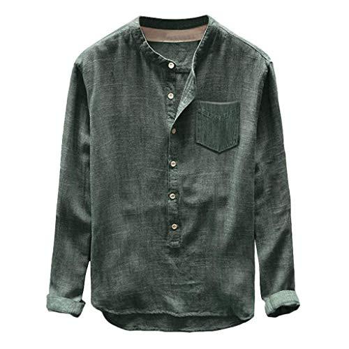 Camiseta Camisa De Verano para Hombre Camisa De Lino para Ropa de Fiesta Hombre Tipo Algodón Puro Y Cáñamo Camisas De Manga Tres Cuartos Top (Color : Grün, Size : 3XL)
