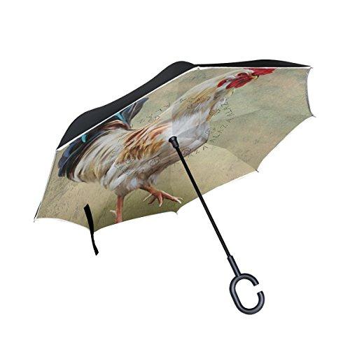 MyDaily Double Layer seitenverkehrt Regenschirm Cars Rückseite Regenschirm Zeichnen Cock Vintage Winddicht UV Proof Reisen Outdoor Regenschirm