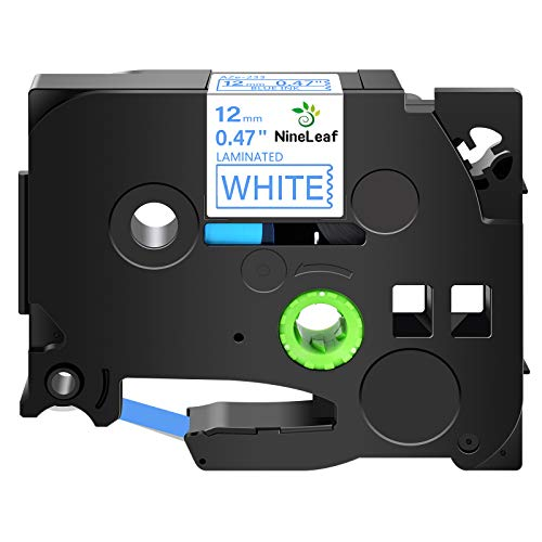 NineLeaf 1 PK Blue on White 12mm Label Tape Replacement Compatible for Brother P-Touch TZ 233 TZe 233 TZ233 Printer