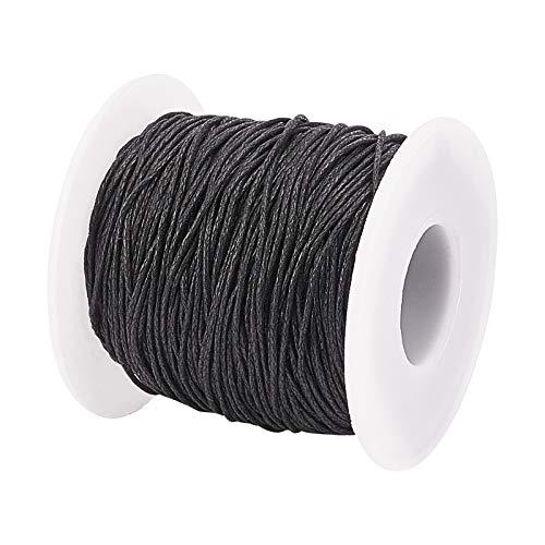 PandaHall Cuerda de algodón encerado de 1 mm, para pulseras, collares, joyas, suministros de macramé, color negro