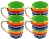 Windhorse - Juego de 4 tazas de cerámica con diseño de rayas arcoíris (10 cm, 250 ml)