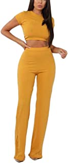 c4fe97e7237 Aleng Women s Sexy 2 Piece Outfits Ribbed Crop Top Wide Leg Long Pants Set  Jumpsuit