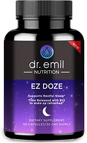Dr. Emil Nutrition EZ Doze Natural Vegan Sleep Aid with Valerian Root, GABA, 5HTP and More - Extra Strength Sleeping Pills for Adults – Safe and Non-Habit Forming (60 Veggie Capsules)